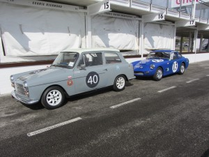 A40 and Ashley GT lined up ready for first session at Goodwood